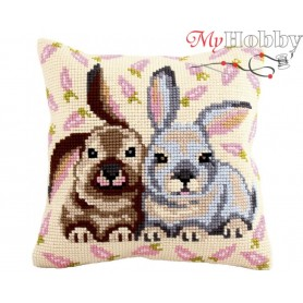 Cross Stitch Cushion Kit Flopsy & Mopsy, Article: 5 185 Collection D'Art - size 40x40 cm.