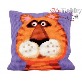 Cross Stitch Cushion Kit Terence the Tiger, Article: 5 181 Collection D'Art - size 40x40 cm.