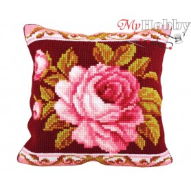 Cross Stitch Cushion Kit Romantic Rose 2, Article: 5 179 Collection D'Art - size 40x40 cm.