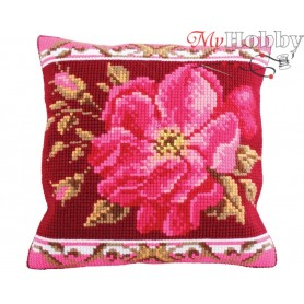 Cross Stitch Cushion Kit Romantic Rose 1, Article: 5 178 Collection D'Art - size 40x40 cm.