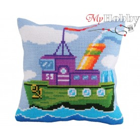 Cross Stitch Cushion Kit Mighty Tug, Article: 5 175 Collection D'Art - size 40x40 cm.