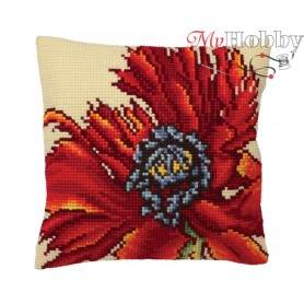 Cross Stitch Cushion Kit Flaming Red, Article: 5 167 Collection D'Art - size 40x40 cm.