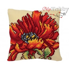 Cross Stitch Cushion Kit Flaming Red, Article: 5 166 Collection D'Art - size 40x40 cm.