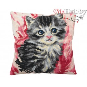 Cross Stitch Cushion Kit Cute Kitten in Pink, Article: 5 164 Collection D'Art - size 40x40 cm.