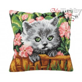 Cross Stitch Cushion Kit Cute Kitten in Flowers, Article: 5 163 Collection D'Art - size 40x40 cm.