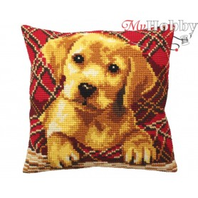 Cross Stitch Cushion Kit Cute Puppy Plaid, Article: 5 160 Collection D'Art - size 40x40 cm.