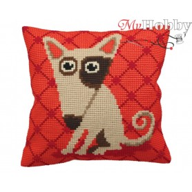 Cross Stitch Cushion Kit Comic Dog on Red, Article: 5 156 Collection D'Art - size 40x40 cm.