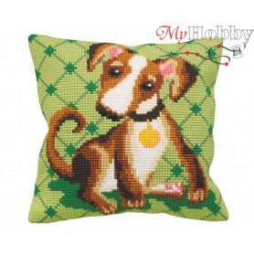 Cross Stitch Cushion Kit Comic Dog on Green, Article: 5 157 Collection D'Art - size 40x40 cm.