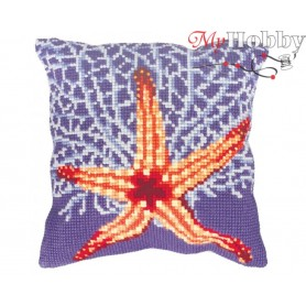 Cross Stitch Cushion Kit Coral Reef, Article: 5 146 Collection D'Art - size 40x40 cm.