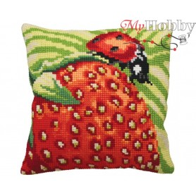 Cross Stitch Cushion Kit Delicious Strawberry, Article: 5 130 Collection D'Art - size 40x40 cm.