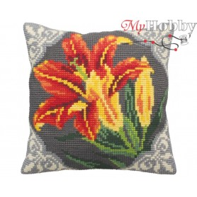 Cross Stitch Cushion Kit Gorgeous Lily Orange, Article: 5 123 Collection D'Art - size 40x40 cm.