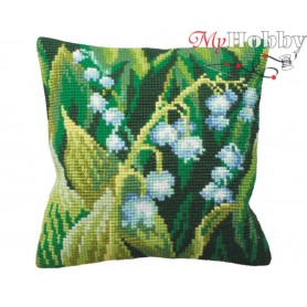 Cross Stitch Cushion Kit Lily of the Valley Left, Article: 5 120 Collection D'Art - size 40x40 cm.