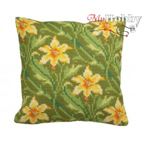 Cross Stitch Cushion Kit Diagonal Green, Article: 5 118 Collection D'Art - size 40x40 cm.