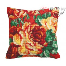 Cross Stitch Cushion Kit Auburn Roses, Article: 5 112 Collection D'Art - size 40x40 cm.