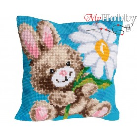 Cross Stitch Cushion Kit Mr. Happy, Article: 5 111 Collection D'Art - size 40x40 cm.