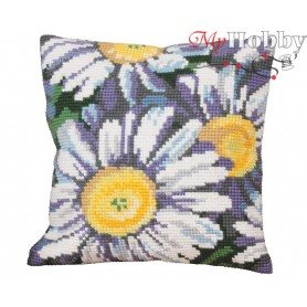 Cross Stitch Cushion Kit Sunshine Daisies, Article: 5 109 Collection D'Art - size 40x40 cm.
