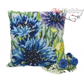 Cross Stitch Cushion Kit Cool Blue Cornflowers, Article: 5 108 Collection D'Art - size 40x40 cm.