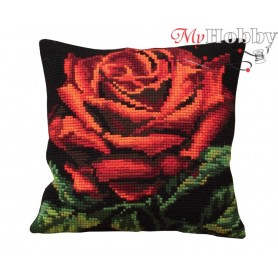 Cross Stitch Cushion Kit Red Velvet Rose, Article: 5 104 Collection D'Art - size 40x40 cm.