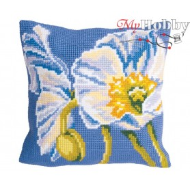 Cross Stitch Cushion Kit Pure Ice Poppies, Article: 5 092 Collection D'Art - size 40x40 cm.