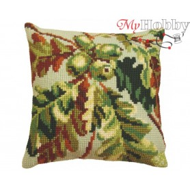 Cross Stitch Cushion Kit Green Wood Autumn, Article: 5 090 Collection D'Art - size 40x40 cm.