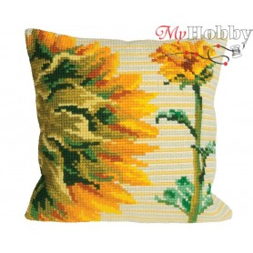 Cross Stitch Cushion Kit Sunflower Talk, Article: 5 086 Collection D'Art - size 40x40 cm.