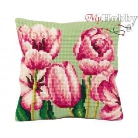 Cross Stitch Cushion Kit Sweet Pinks Left, Article: 5 069 Collection D'Art - size