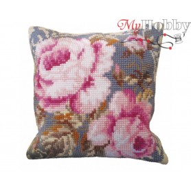 Cross Stitch Cushion Kit Timeless Pinks, Article: 5 052 Collection D'Art - size 40x40 cm.