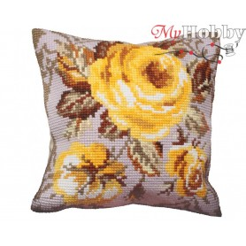 Cross Stitch Cushion Kit Timeless Yellows, Article: 5 051 Collection D'Art - size 40x40 cm.