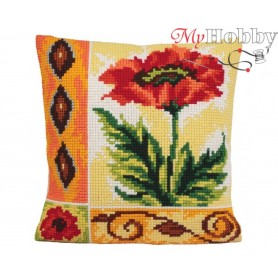 Cross Stitch Cushion Kit Indian Poppy Dream, Article: 5 016 Collection D'Art - size 40x40 cm.
