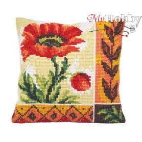 Cross Stitch Cushion Kit Indian Poppy Awakening, Article: 5 015 Collection D'Art - size 40x40 cm.