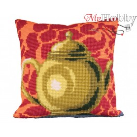 Cross Stitch Cushion Kit Luscious Green Tea Pot, Article: 5 012 Collection D'Art - size 40x40 cm.