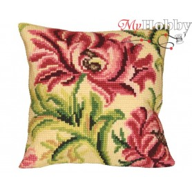 Cross Stitch Cushion Kit Elegant Rose Left, Article: 5 010 Collection D'Art - size 40x40 cm.