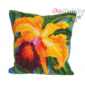 Cross Stitch Cushion Kit Paradise Orchid, Article: 5 008 Collection D'Art - size 40x40 cm.