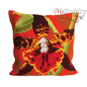 Cross Stitch Cushion Kit Tiger Orchid, Article: 5 001 Collection D'Art - size 40x40 cm.