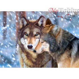 Diamond Embroidery Painting Kit Wolf couple, Article: DE7088 Collection D'Art - size 48x38 cm.