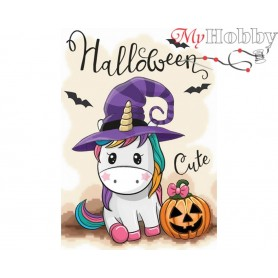 Diamond Embroidery Painting Kit Halloween, Article: DE7073 Collection D'Art - size 27x19 cm.