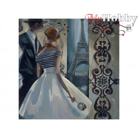 Diamond Embroidery Painting Kit Spring in Paris, Article: DE7061 Collection D'Art - size 38x38 cm.
