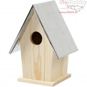 Bird box with zinc roof, size 13,5x11x19 cm, hole size 32 mm, pine, 1pc