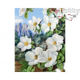 Diamond Embroidery Painting Kit Spring in the mountains, Article: DE7047 Collection D'Art - size 48x38 cm.