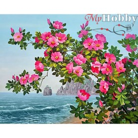 Diamond Embroidery Painting Kit Blossoming dog rose, Article: DE7046 Collection D'Art - size 48x38 cm.