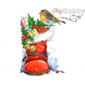 Diamond Embroidery Painting Kit Christmas bird, Article: DE7045 Collection D'Art - size 27x38 cm.
