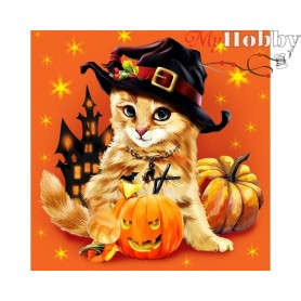 Diamond Embroidery Painting Kit Halloween kitty, Article: DE7028 Collection D'Art - size 38x38 cm.