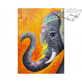 Diamond Embroidery Painting Kit Indian elephant, Article: DE7023 Collection D'Art - size 27x38 cm.