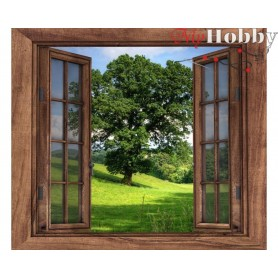 Diamond Embroidery Painting Kit Window to the forest, Article: DE7015 Collection D'Art - size 38x38 cm.
