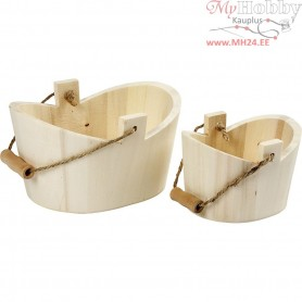 Tubs With Handle, size 12x8,5x7,5 cm, size 16,5x11,5x9 cm, empress wood, 2pcs