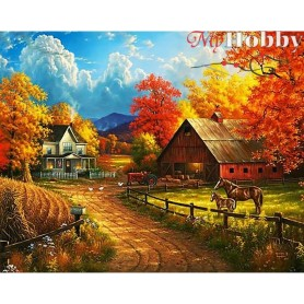 Diamond Embroidery Painting Kit Way to autumn, Article: DE6066 Collection D'Art - size 48x38 cm.