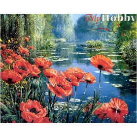 Diamond Embroidery Painting Kit Poppies by the lake, Article: DE6057 Collection D'Art - size 48x38 cm.