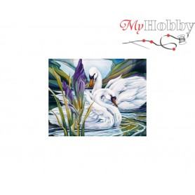Diamond Embroidery Painting Kit Swans and iris, Article: DE6055 Collection D'Art - size 48x38 cm.