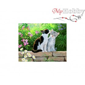 Diamond Embroidery Painting Kit Cat morning, Article: DE6048 Collection D'Art - size 48x38 cm.