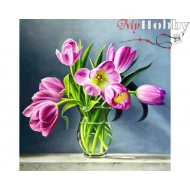 Diamond Embroidery Painting Kit Spring tulips, Article: DE6043 Collection D'Art - size 38x38 cm.